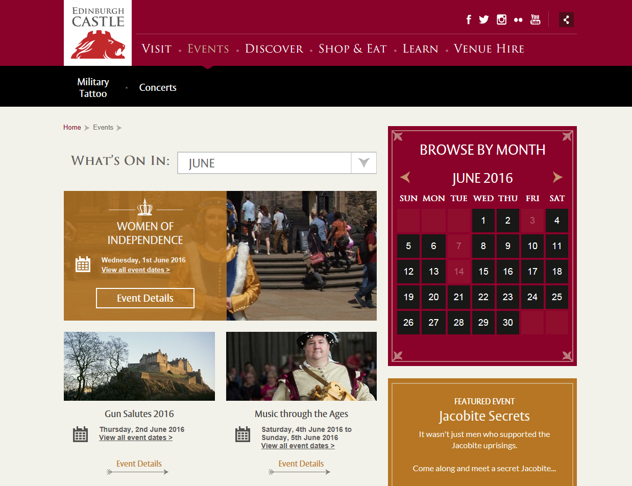 The new look Edinburgh Castle events section of the website.