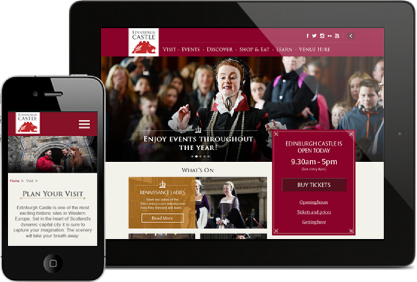The new Edinburgh Castle website on tablet and mobile devices