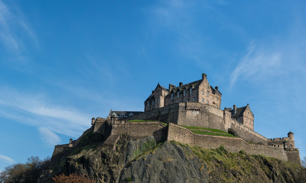 Panorama (stitched) of the west defences and hospital of Edinburgh Castle from Princes Gardens