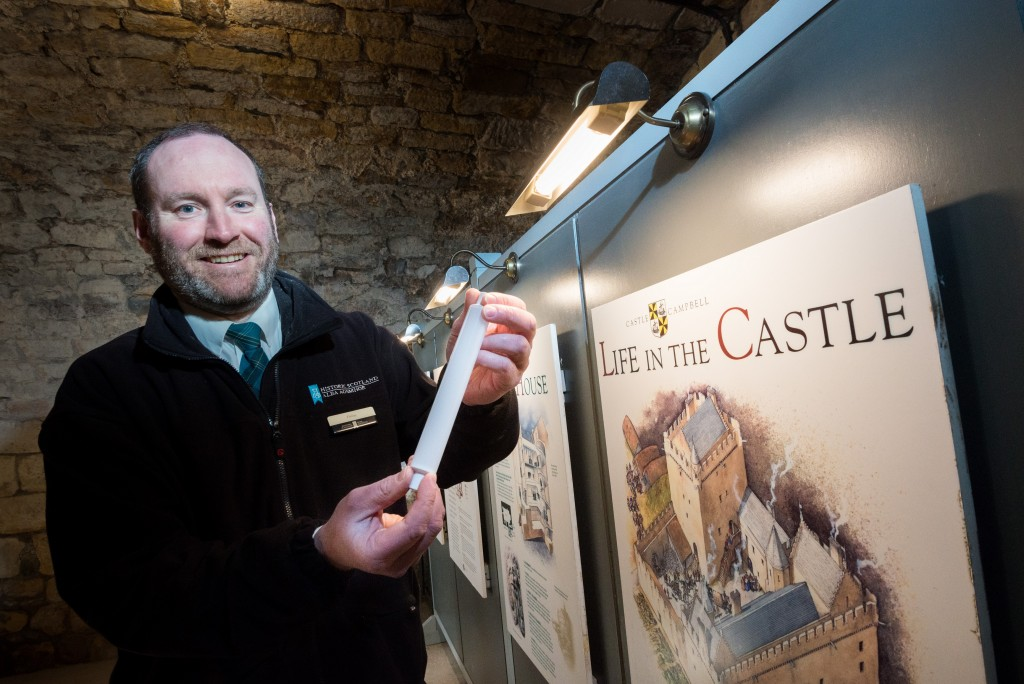 Finlay Lumsden, Monument Manager and Green Champion with new LED lighting at Castle Campbell