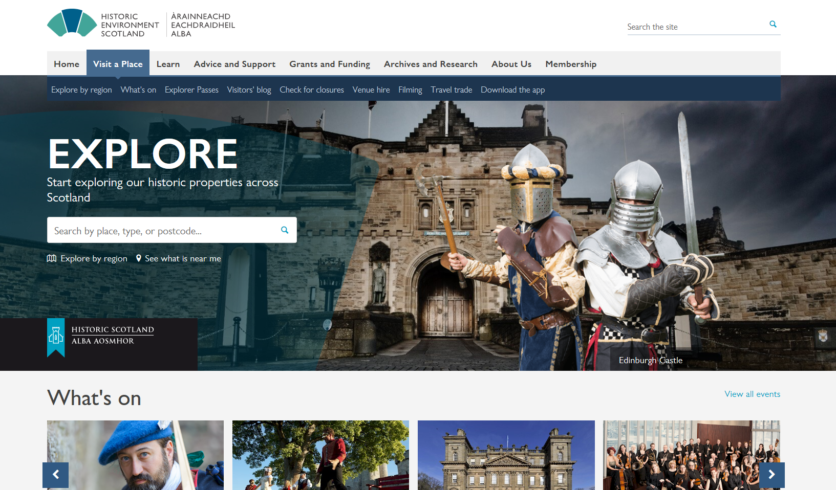The 'visit a place' section of the new HES website
