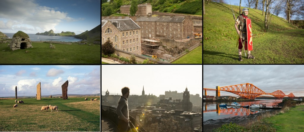 A collage showing all six Scottish World Heritage sites