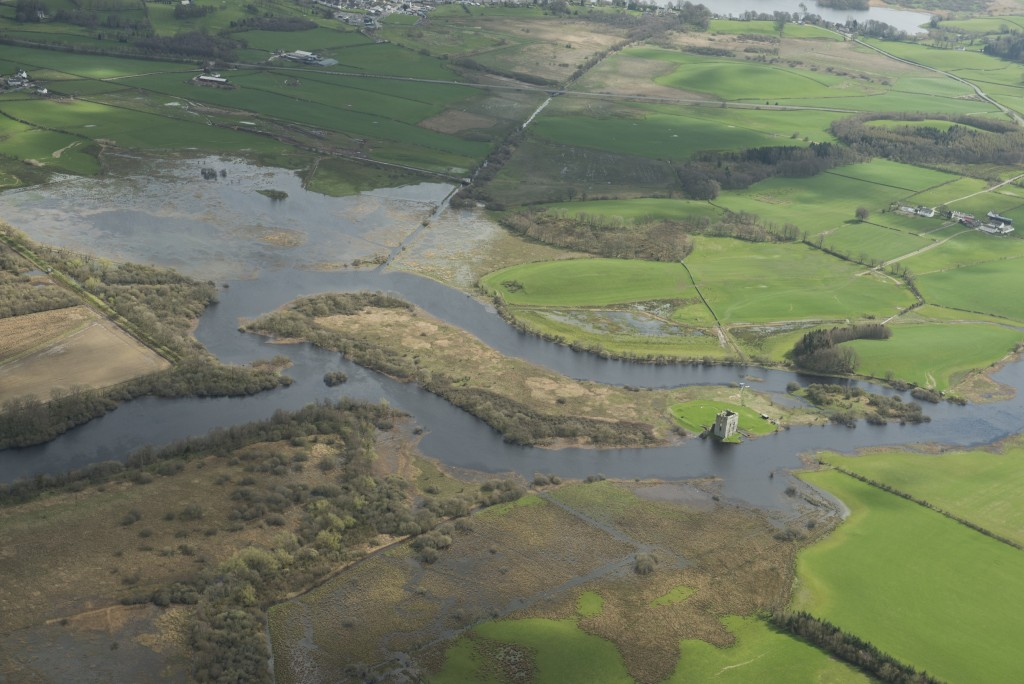 Aerial picture showing flooding of the River Dee