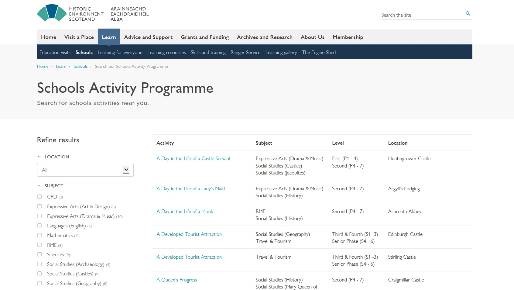 The schools activity programme database.