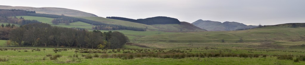 Panoramic view southeast past the Linns across the Wharry Burn to Dumyat.