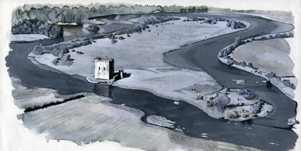 An illustration of how Threave Castle looks from the air