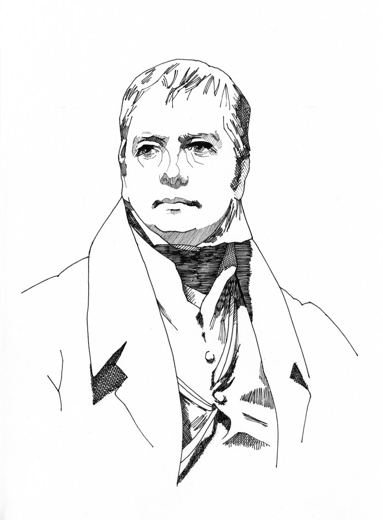 Drawing of Walter Scott