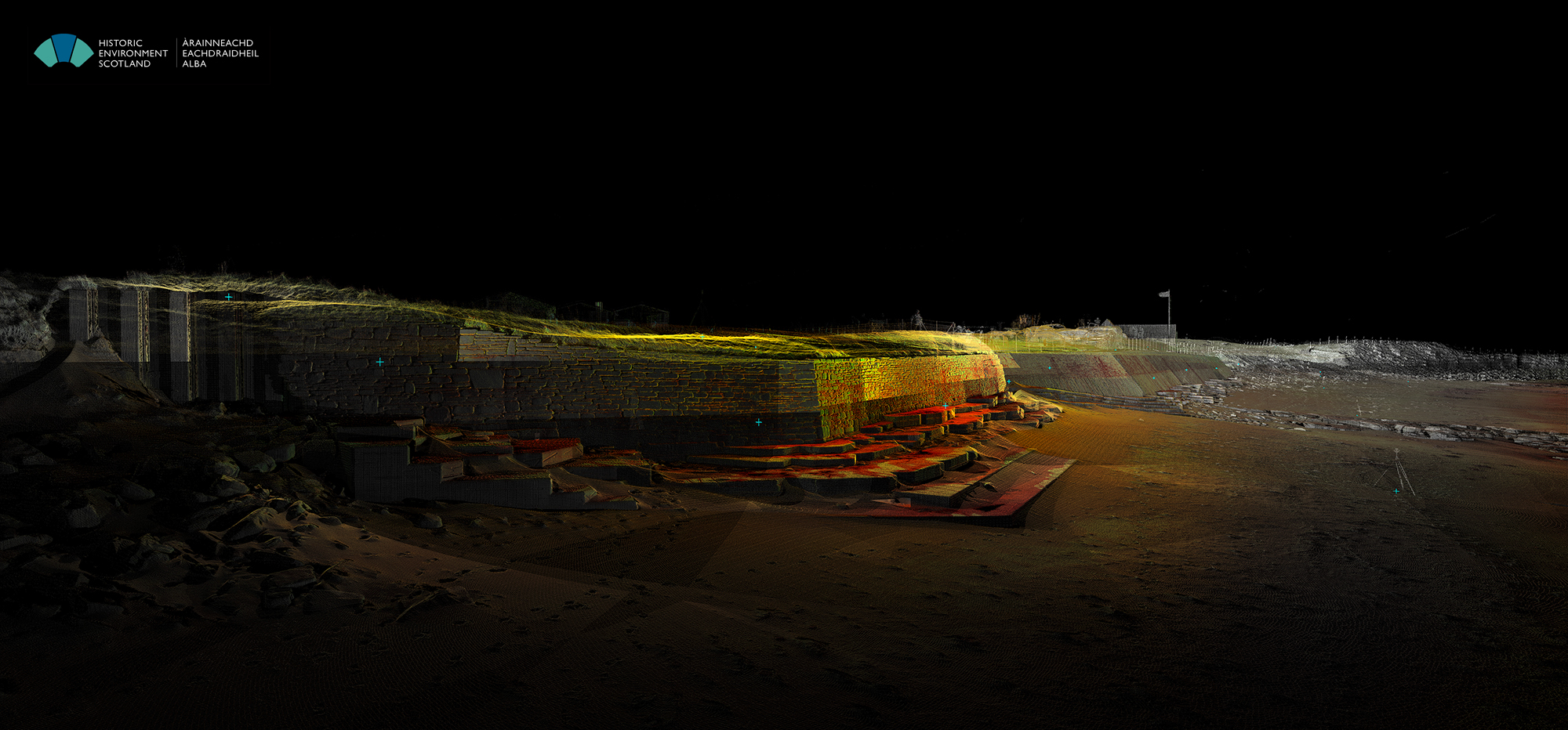 Point cloud image from the NE end of the sea wall, looking along the beach towards the West.