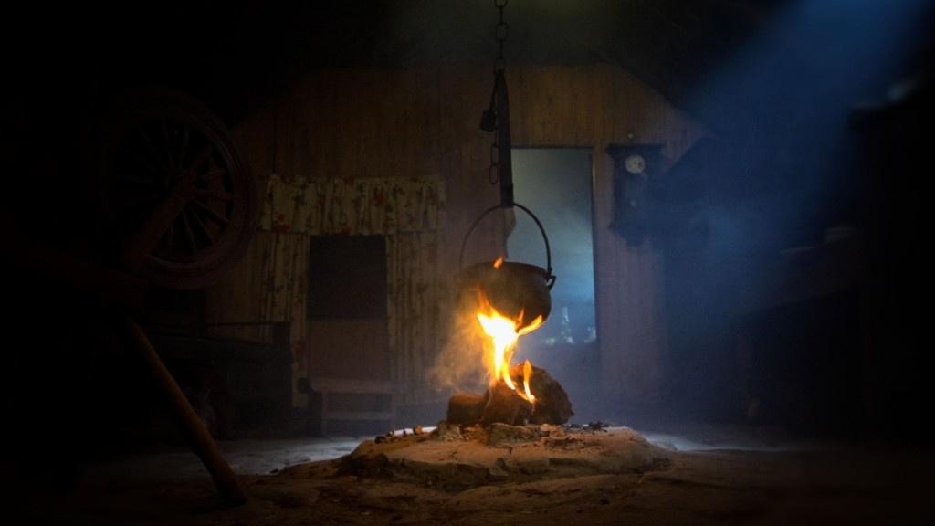 A peat fire burning inside Arnol blackhouse