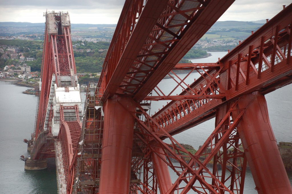 The Forth Bridge being repainted