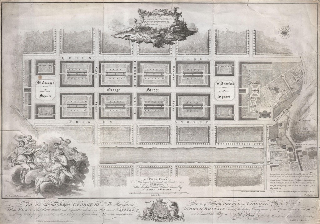 Drawing showing an architectural plan of Edinburgh New Town