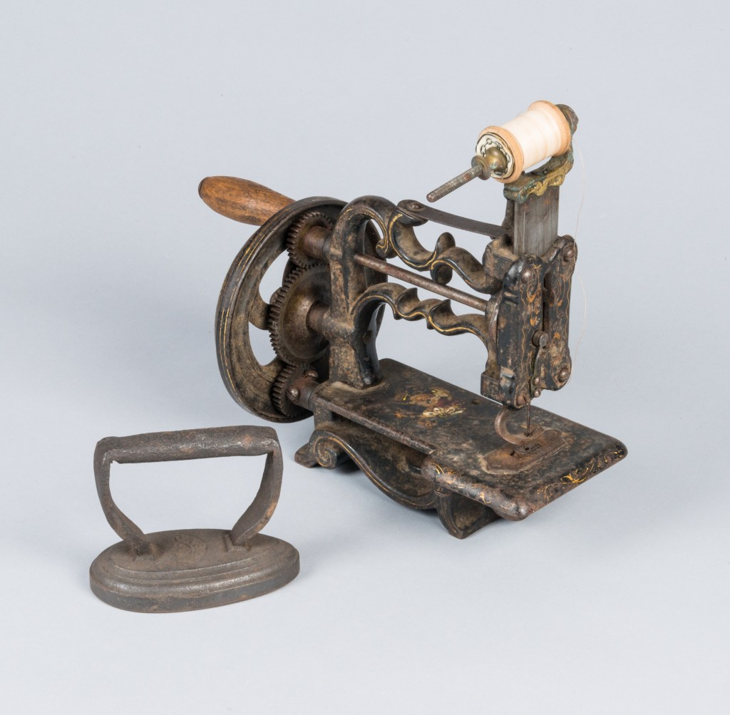 A sewing machine and an iron