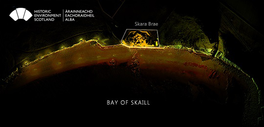 Plan view of the point cloud showing the Bay of Skaill. The outline of the Neolithic village is marked on the plan and the wall highlighted with brighter colours