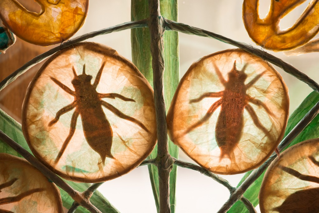 A stained glass window showing two bugs