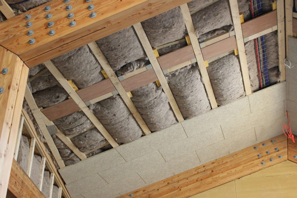 Use of natural materials: clay board and sheep's wool insulation