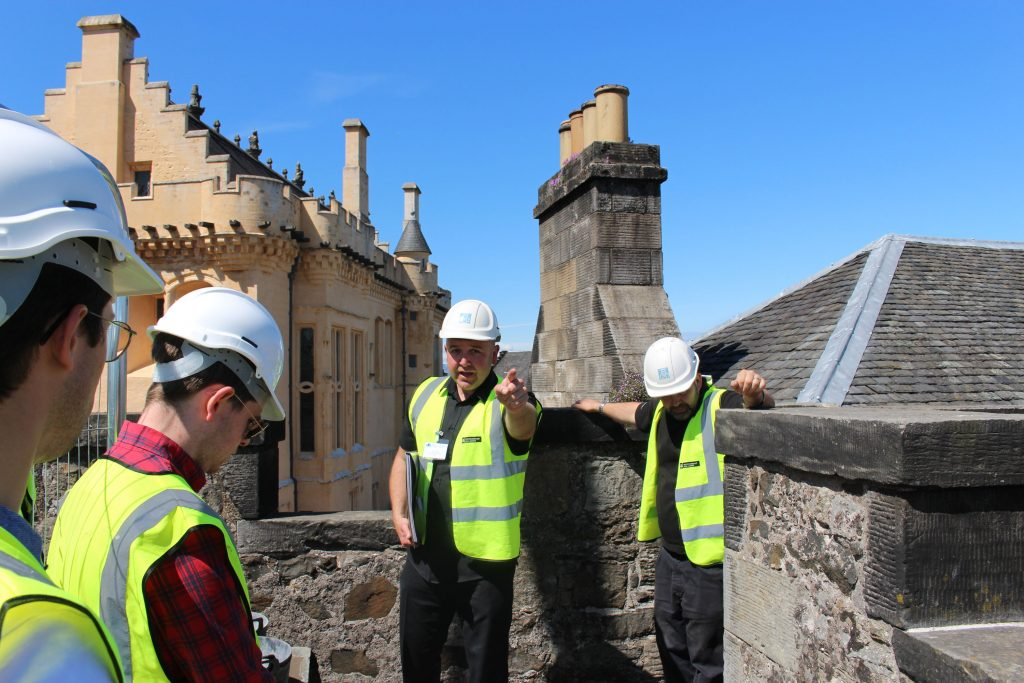 Drainage works from scaffold at Foreworks, Stirling Castle caused by increased rainfall