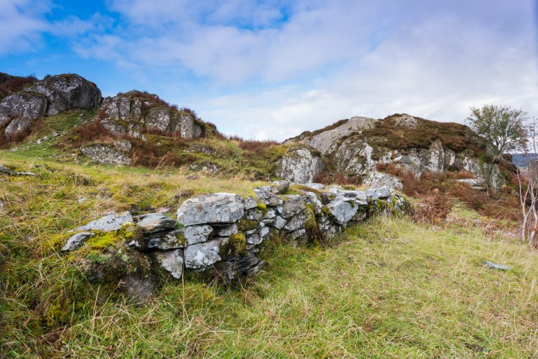 General view of Dunadd Hill Fort, a well-preserved hill fort that was a stronghold of Dalriada, the kingdom of the Scotti.