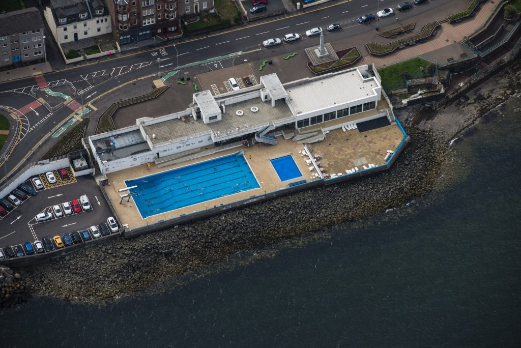 An Aerial view of Gourock open air swimming pool
