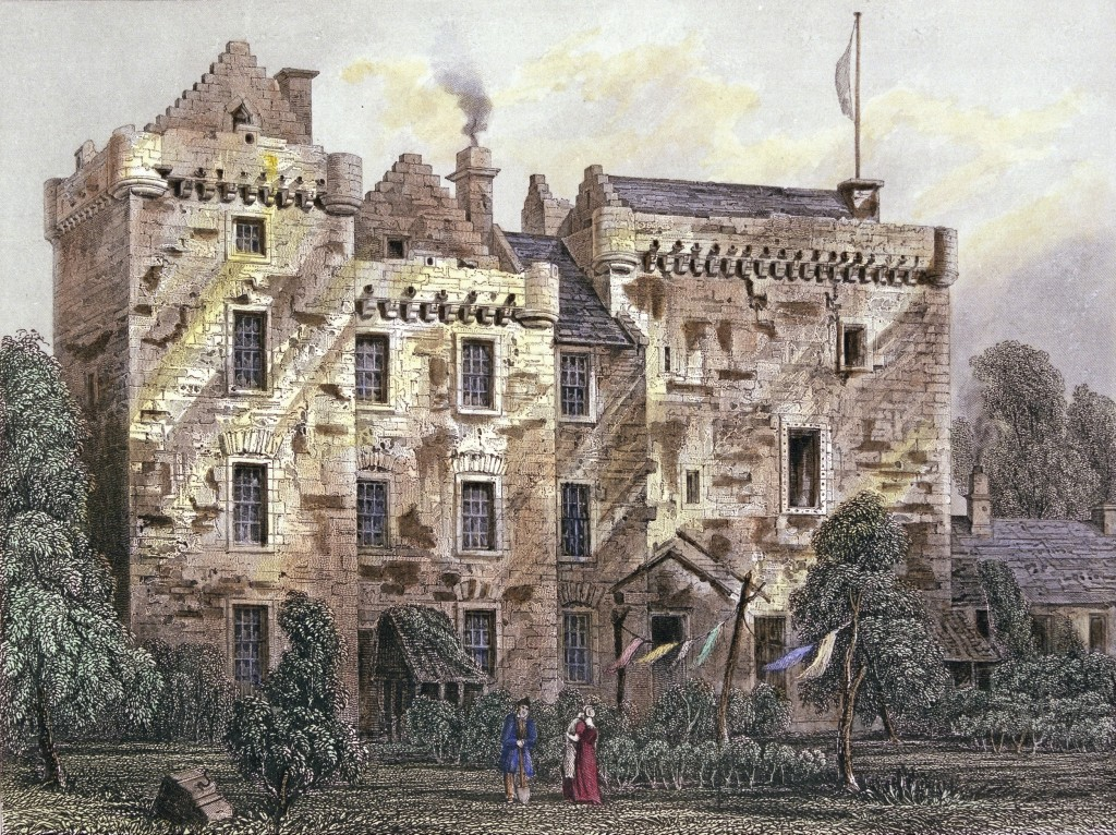 an engraving of huntingtower castle