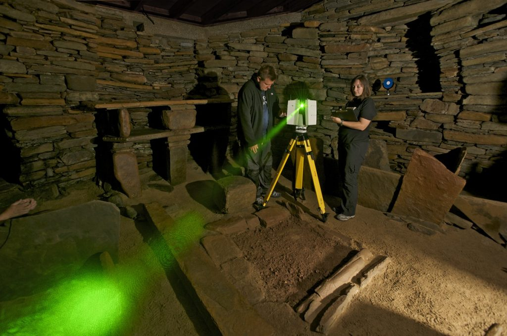Scanning inside Skara Brae, Orkney, as part of The Scottish Ten - an ambitious five year project to use cutting edge technology to create exceptionally accurate digital models of Scotland's five UNESCO designated World Heritage Sites and five international ones