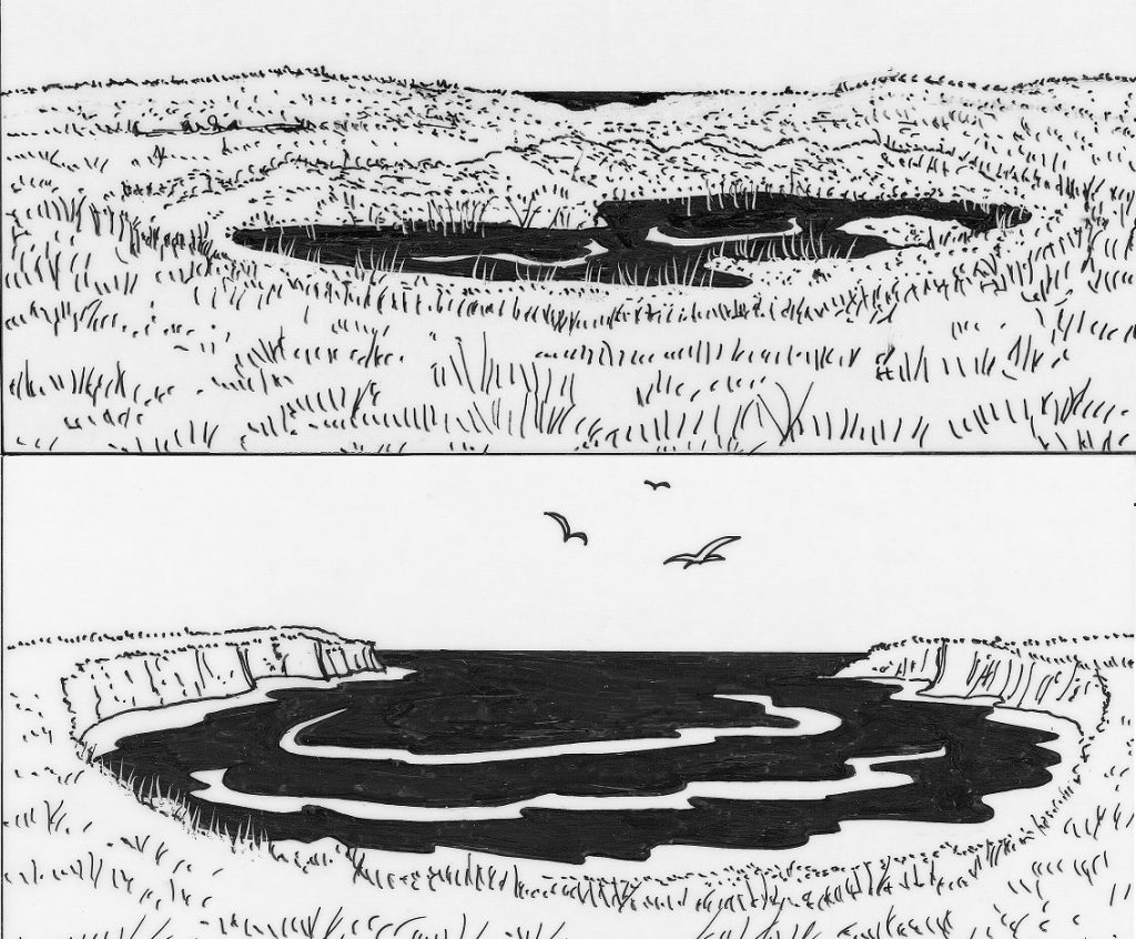 The freshwater loch on the Bay of Skaill before and after the cliffs were eroded and the loch drained into the sea.