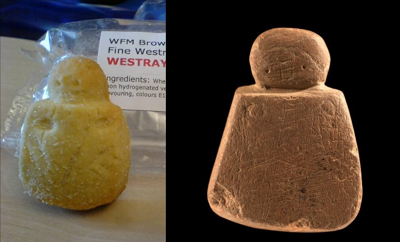 A woman-shaped biscuit next to the real Wife of Westray