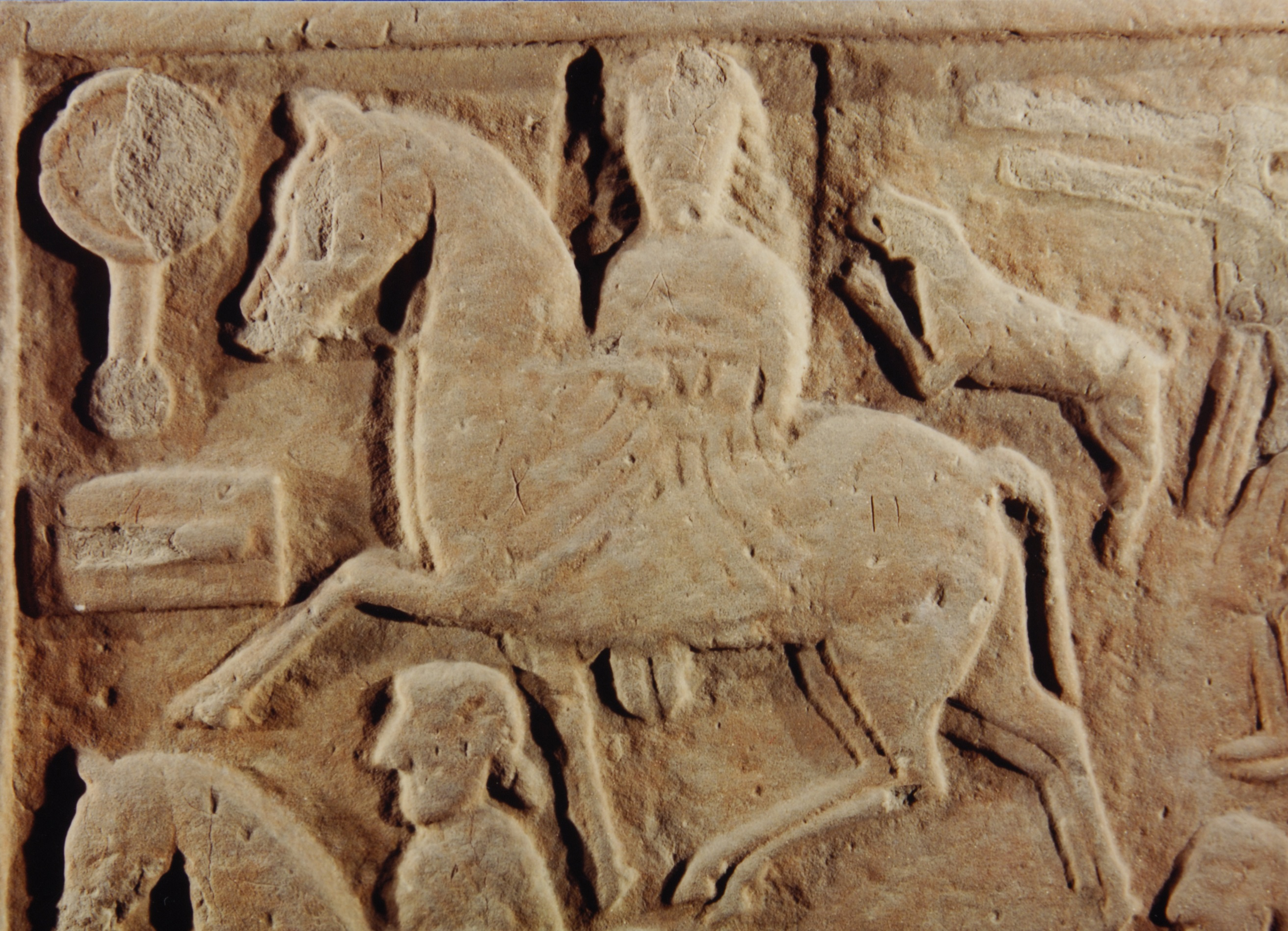 Detail of the Hilton of Cadboll Pictish Stone, showing woman on horseback.