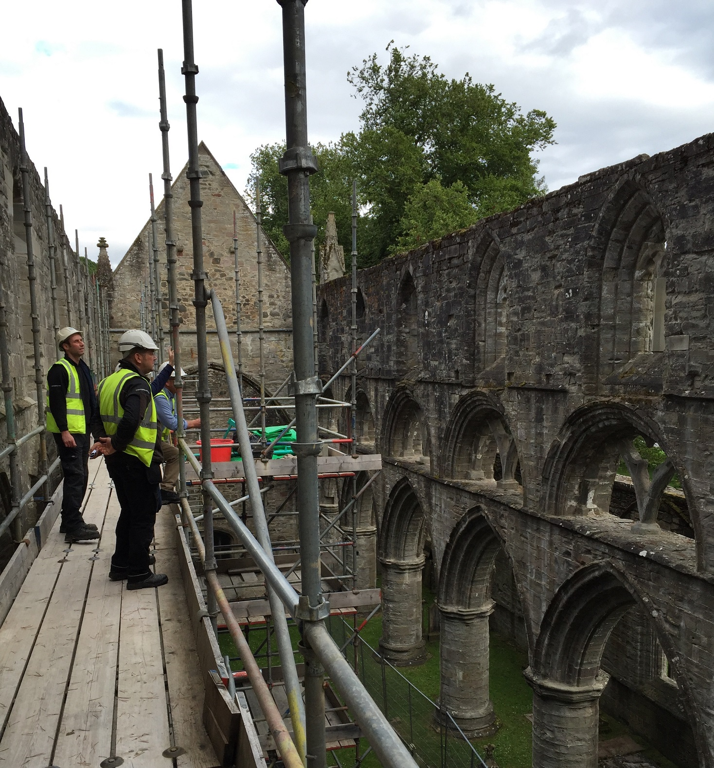 Conservation staff working at Dunkeld Cathedral