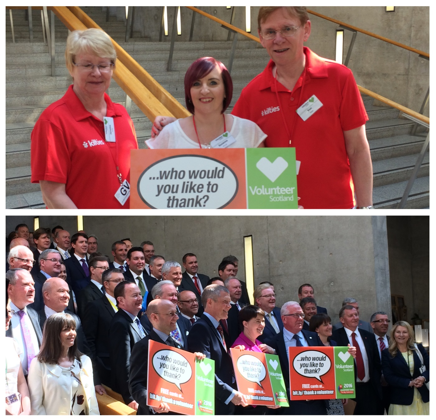 Suzanne at the Scottish parliament with Volunteer Scotland