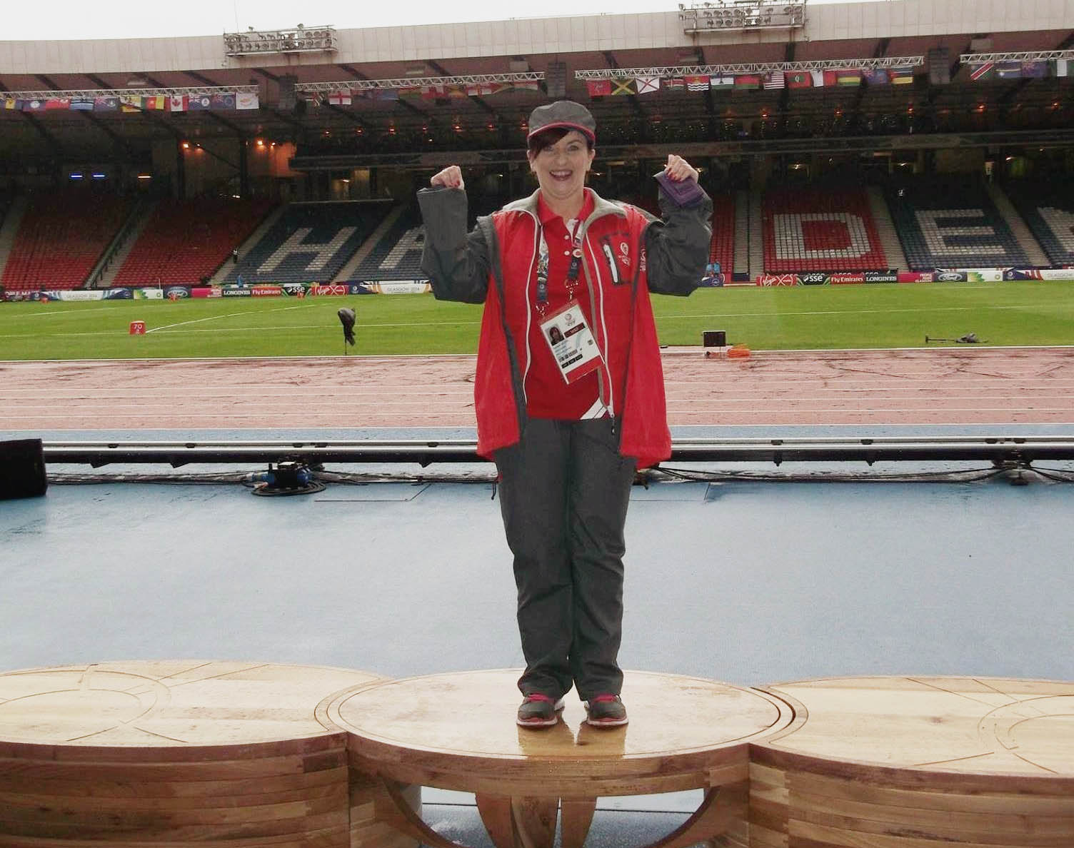 Suzanne on the podium at the Glasgow Commonwealth Games