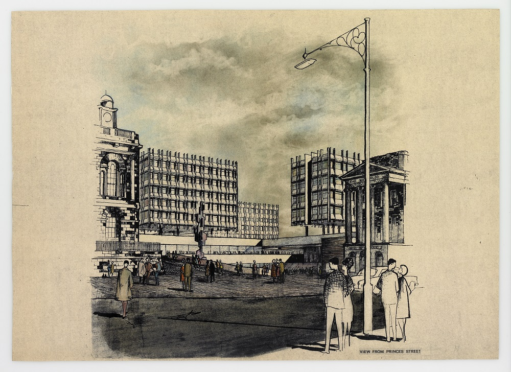 Perspective drawing of proposed scheme for St James' Square by Basil Spence