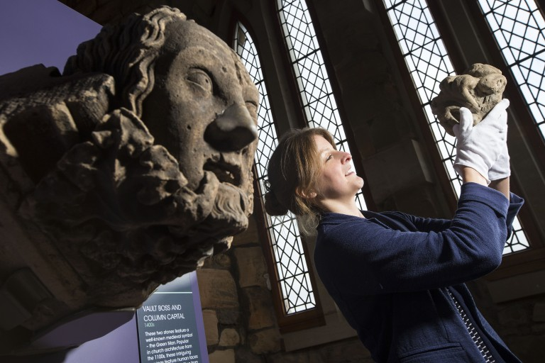 Collections Manager Rona Walker has recently been involved in the redisplay of the carved stone collection at Elgin Cathedral