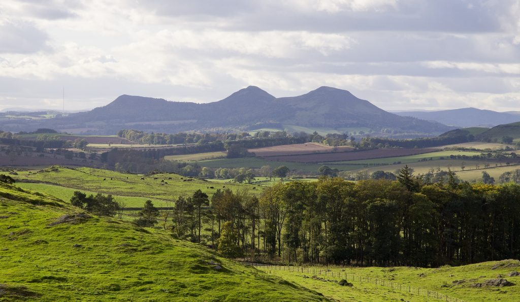View west to the Eildon Hills, from Smailholm Tower.