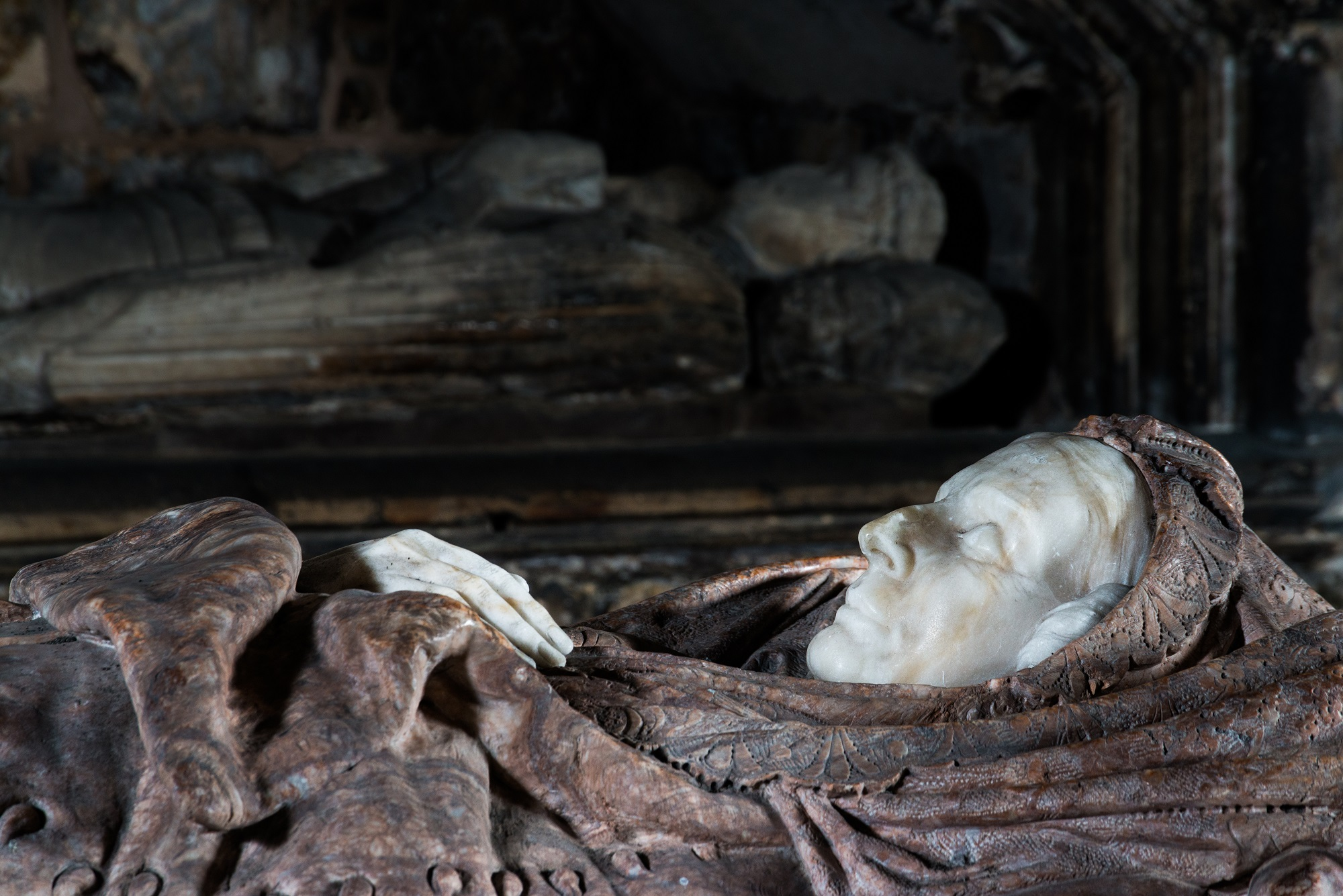 A particularly deathly looking effigy at St Bride's Church, Douglas