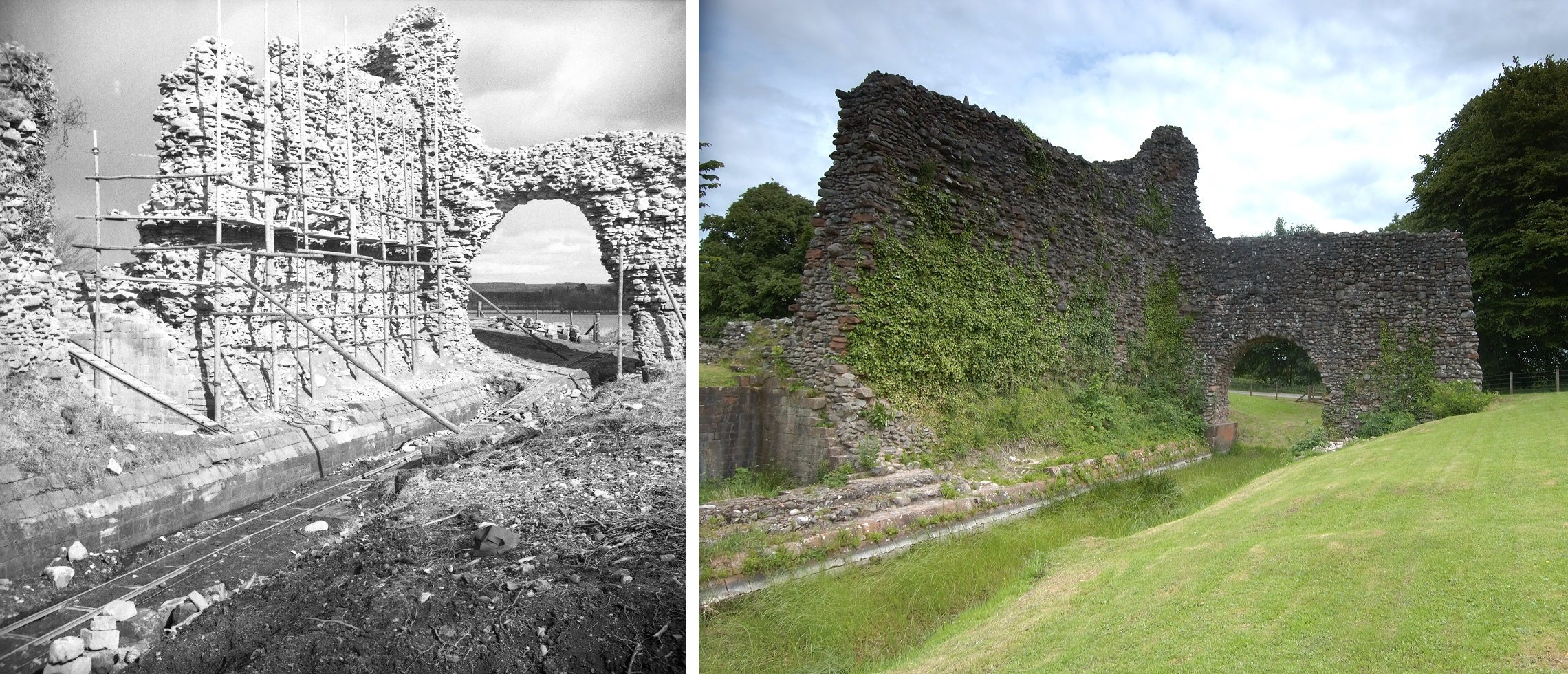 Lochmaben Castle in 1952 and now