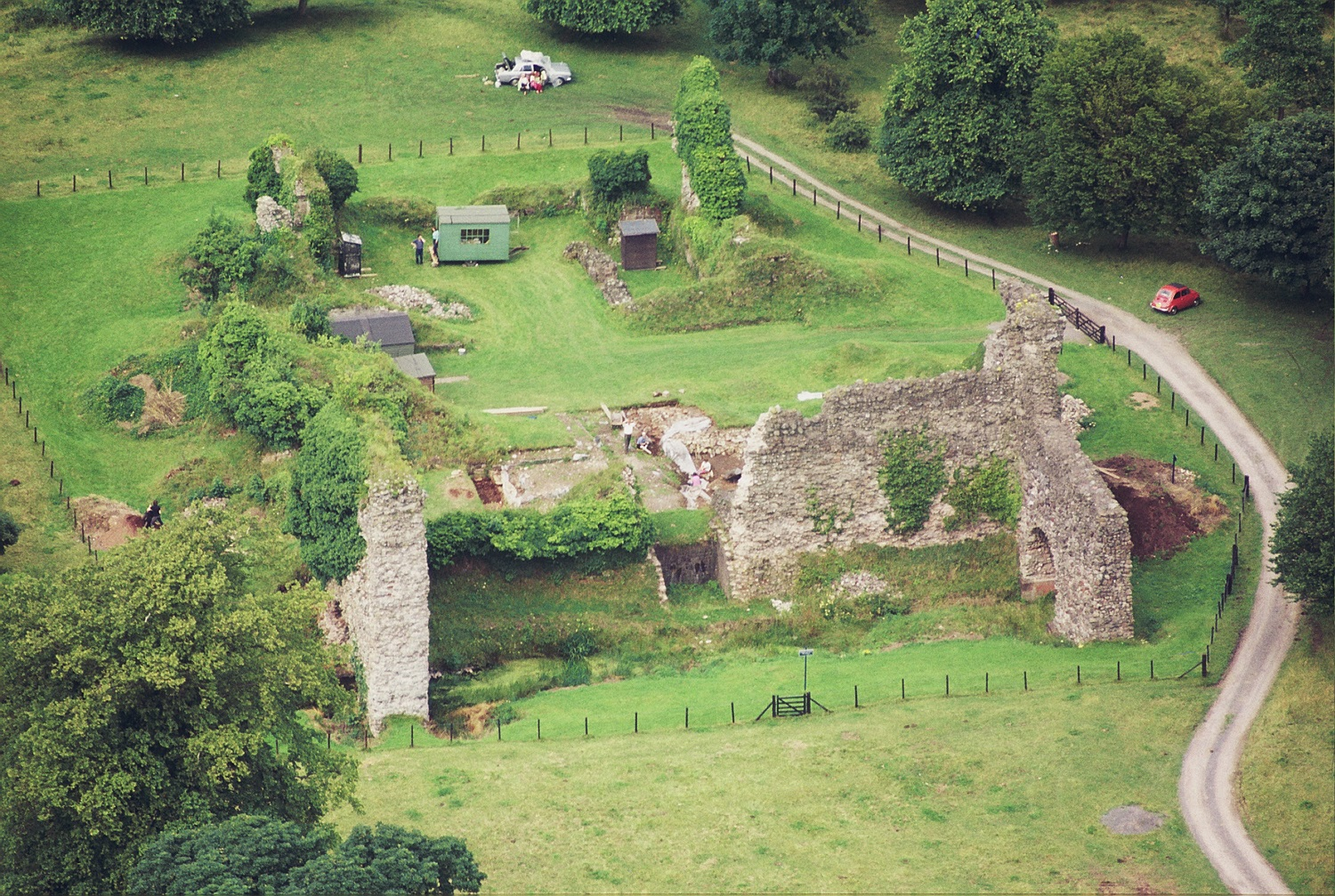 Aerial view of Lochmaben Castle