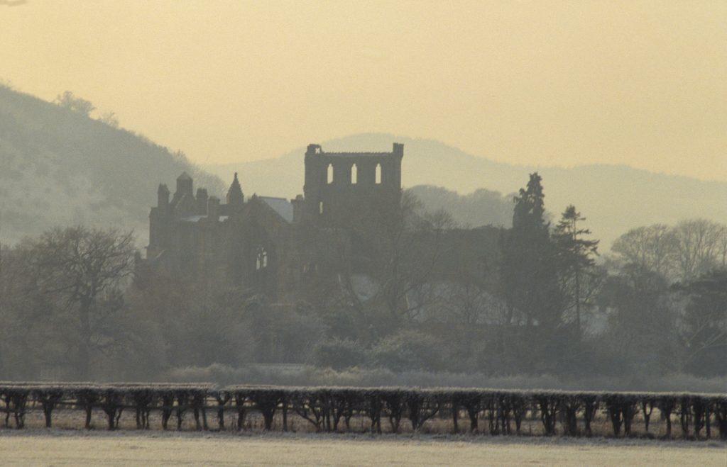 Melrose Abbey on a misty day