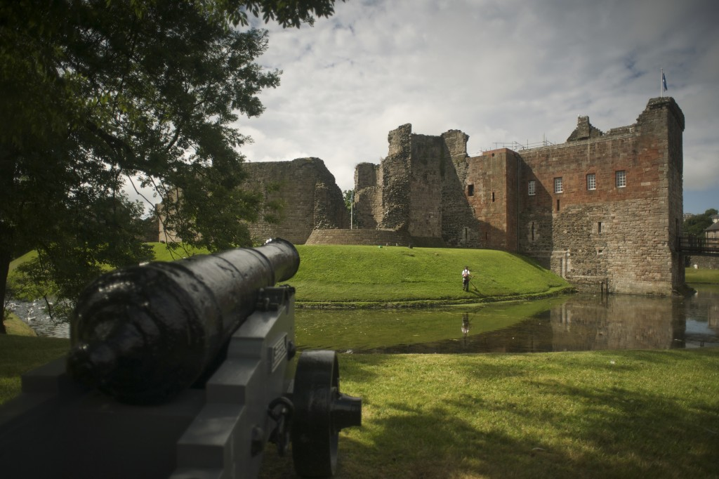 A cannon pointing at Rothesay Castle