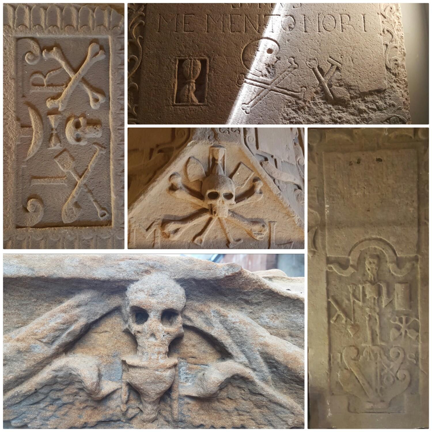 A collage of tombstones from St Andrews Cathedral, with skull and cross bones and hour glass carvings.