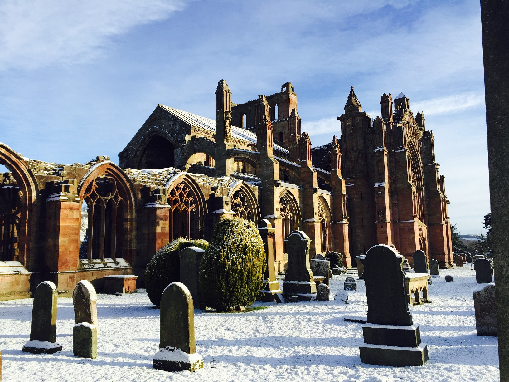Melrose Abbey in winter