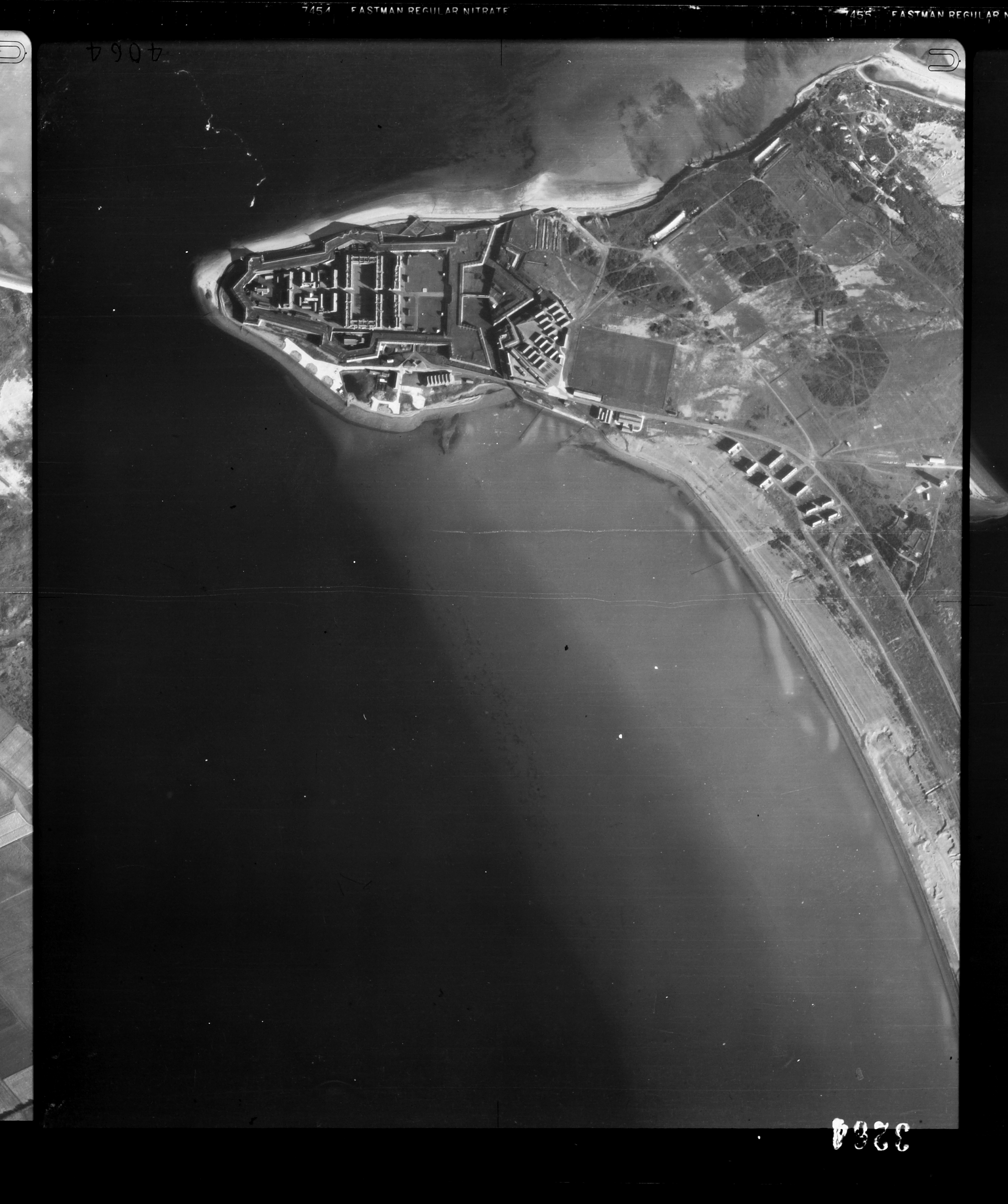 Aerial photograph of Fort George, taken in 1946. Fort George has been in continual use by the British Army since the 18th century and served as a base depot during the First and Second World Wars.