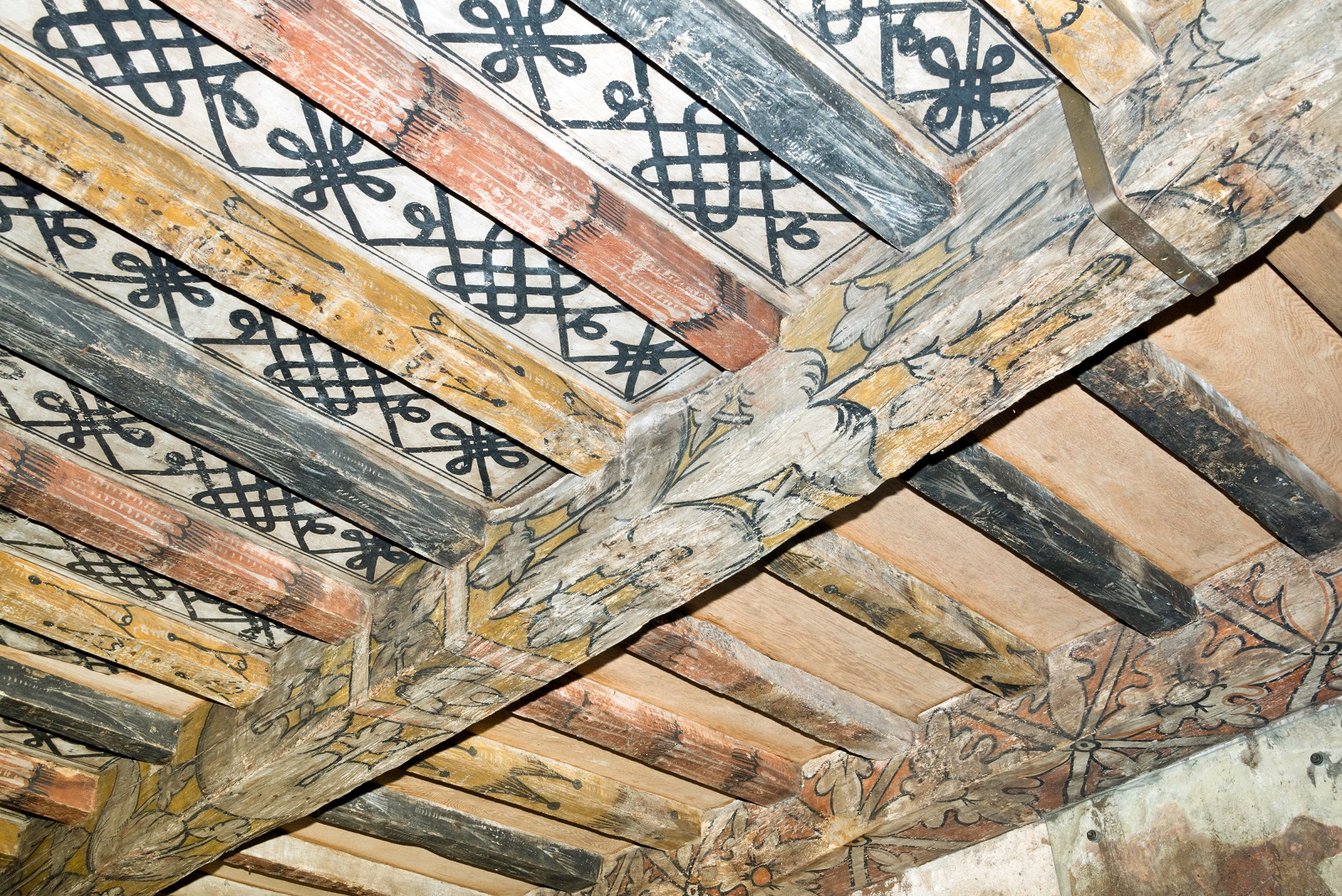 The painted ceiling at Huntingtower Castle