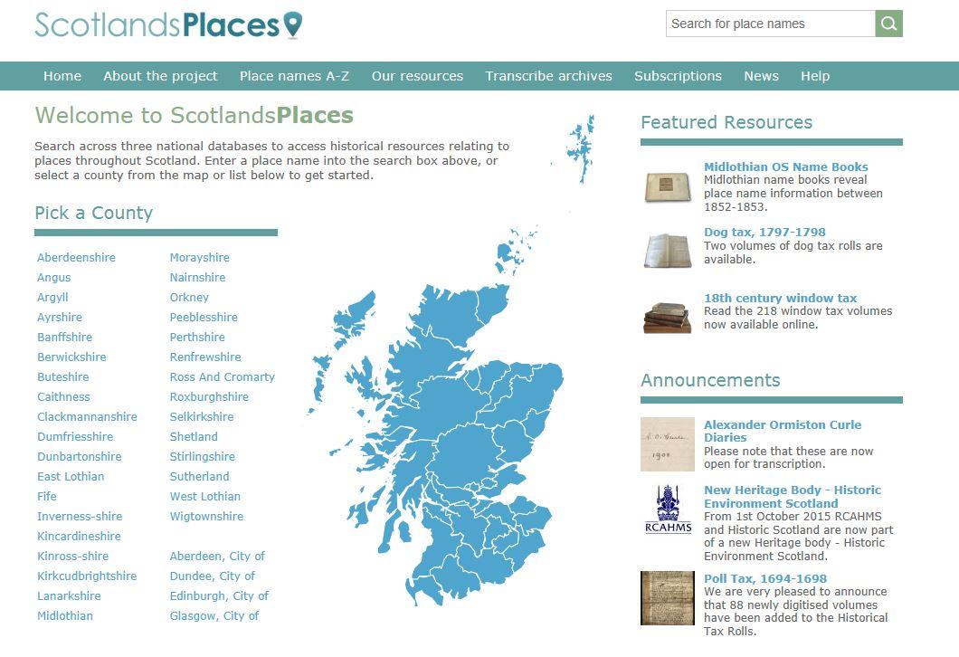 A screenshot of the ScotlandsPlaces website