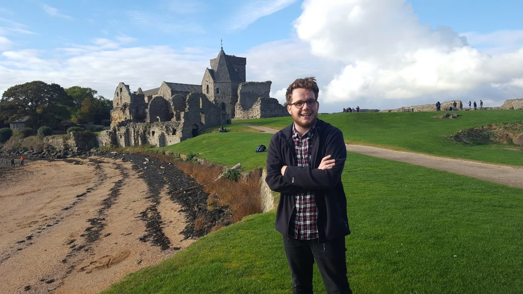 David Harkin in front of Inchcolm Abbey