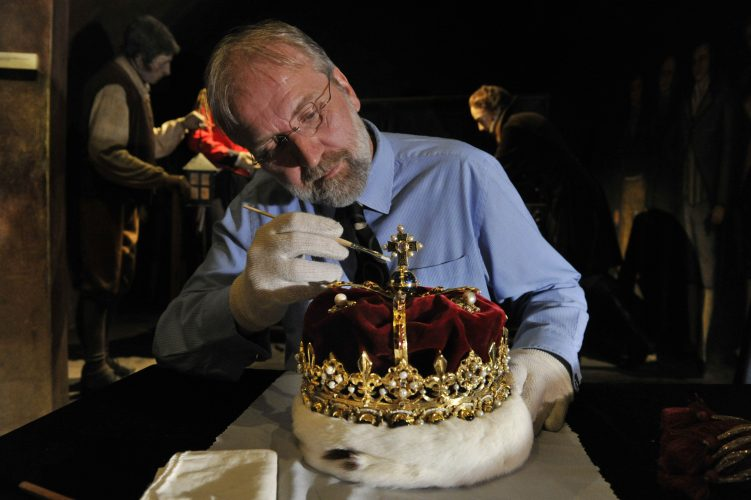 The Honours (Crown Jewels) of Scotland were carefully cleaned before being used in the ceremonial opening of the Scottish Parliament