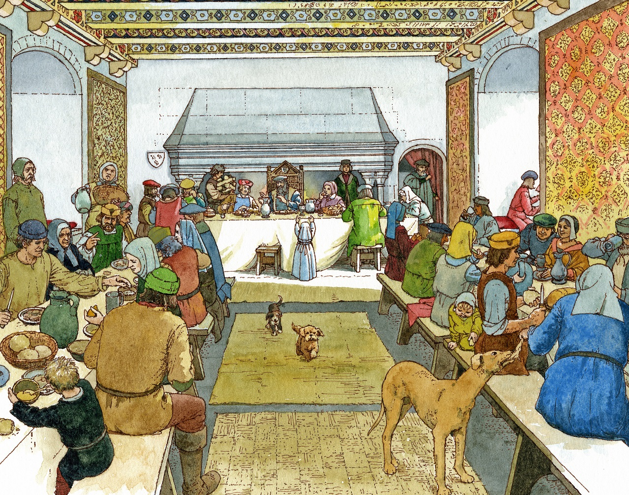 Illustration showing a Scottish midwinter banquet of the 1500s