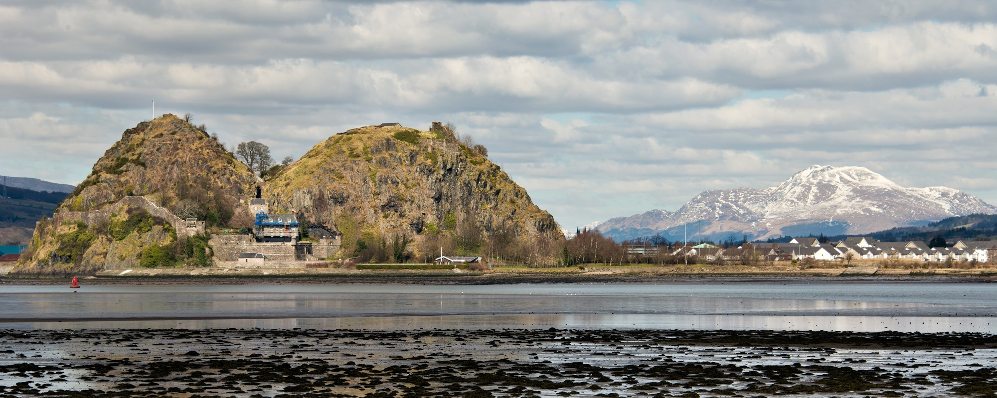Dumbarton Castle with snow covered Ben Lomond in the background