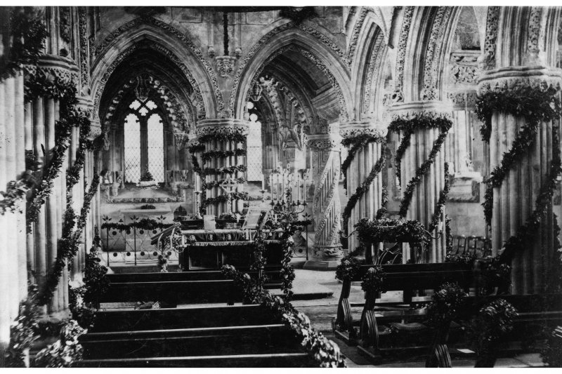 Roslin Chapel decorated for Christmas in 1862.