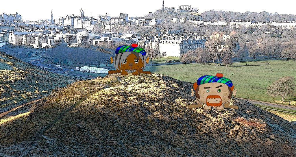 Two haggis sitting on Haggis Knowe