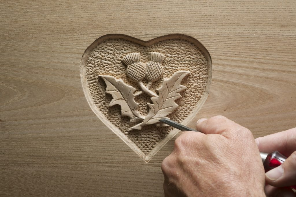 A wooden carved heart